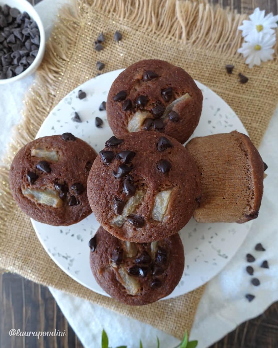 Muffins Pera e Cioccolato cotti al vapore: la Ricetta fit senza burro