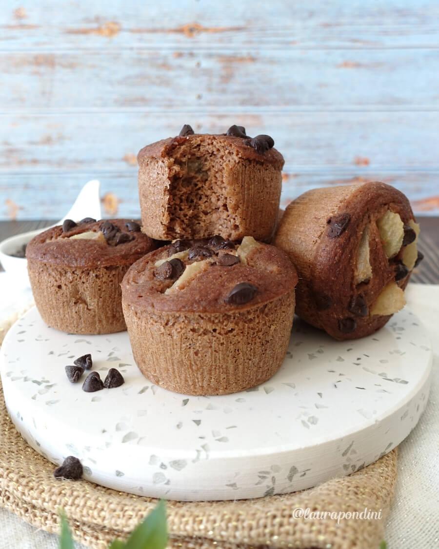 Muffins Pera e Cioccolato cotti al vapore: la Ricetta light senza zucchero