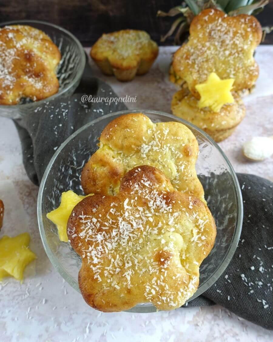 Muffins Kefir, Ananas e Cocco: la Ricetta fit senza burro