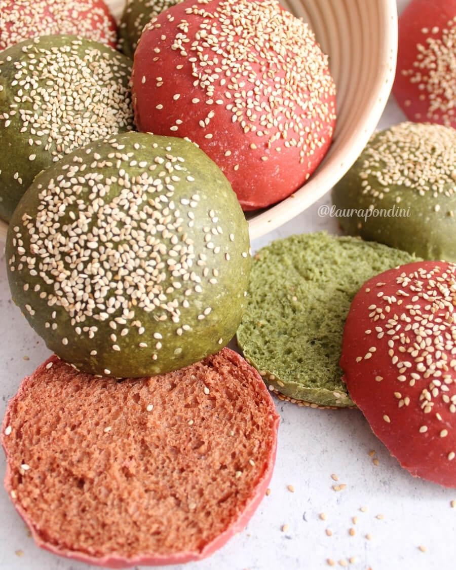 Burger buns colorati ricetta