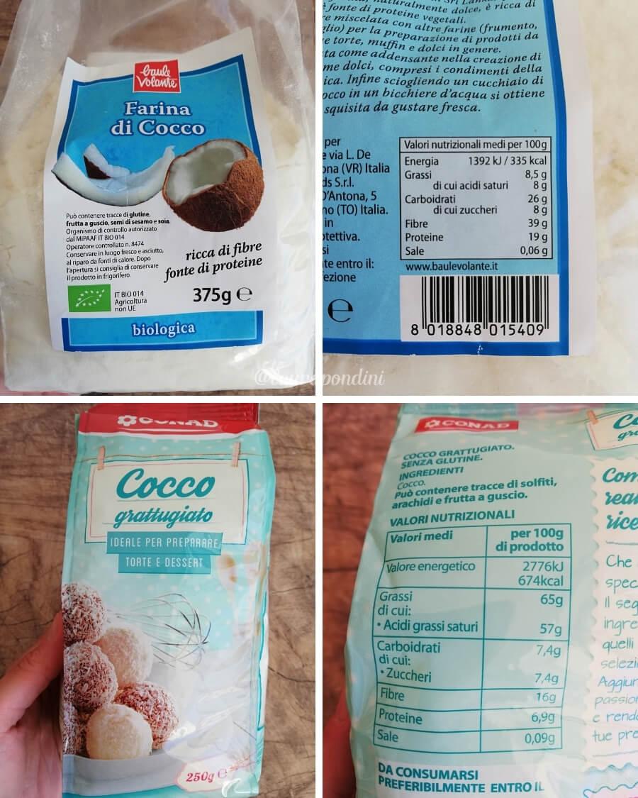 Farina di cocco cocco rape a confronto