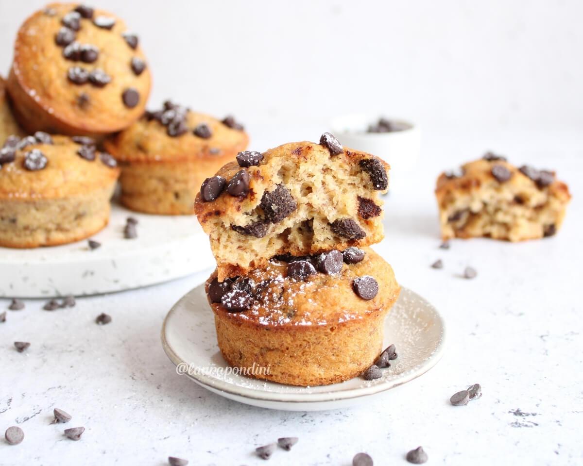 Muffins banana e cioccolato: la Ricetta fit senza latticini