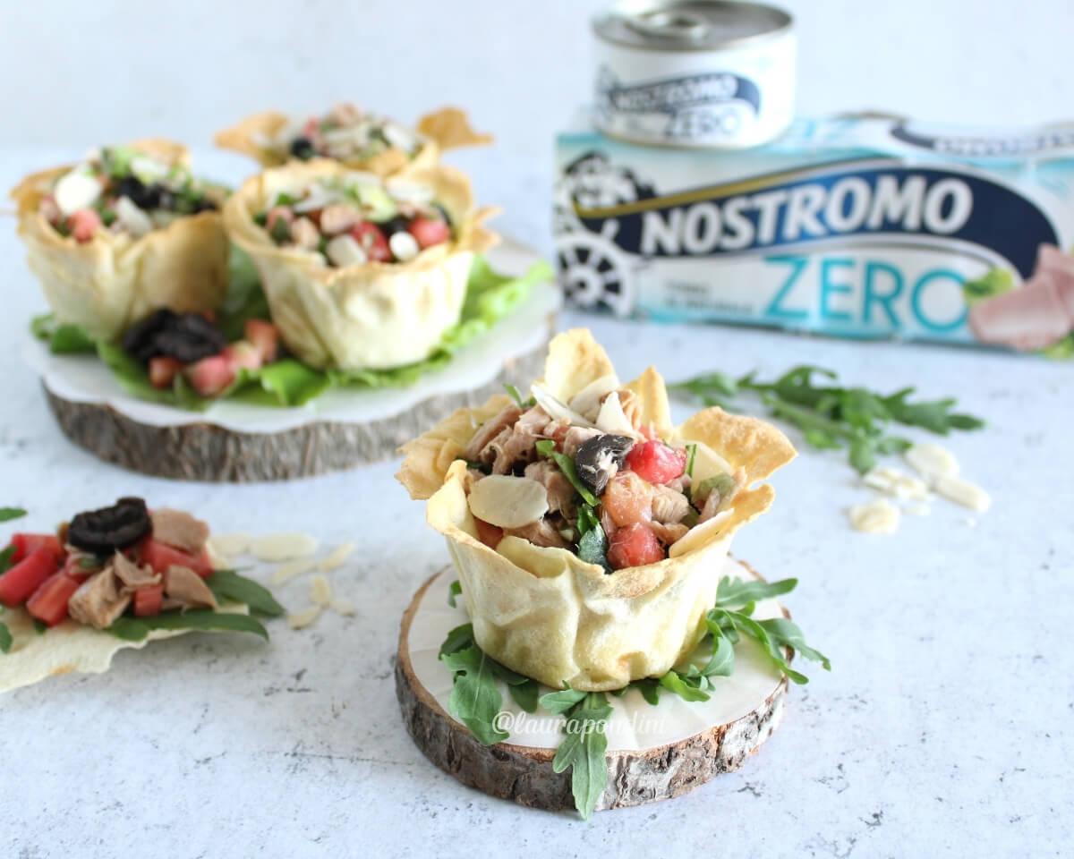 Cestini croccanti di Pane Carasau con insalata di tonno: la Ricetta leggera
